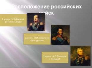 Расположение российских войск 1 армия. М.Б.Барклай де Толли. (Литва) 2 армия.
