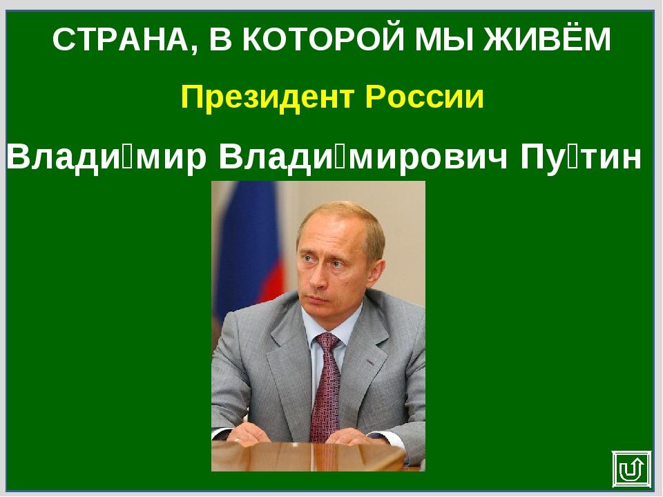 Президент России СТРАНА, В КОТОРОЙ МЫ ЖИВЁМ Влади́мир Влади́мирович Пу́тин
