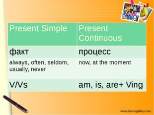 PresentSimple PresentContinuous факт процесс always,often, seldom, usually,