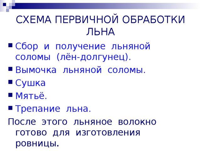 СХЕМА ПЕРВИЧНОЙ ОБРАБОТКИ ЛЬНА Сбор и получение льняной соломы (лён-долгунец)...