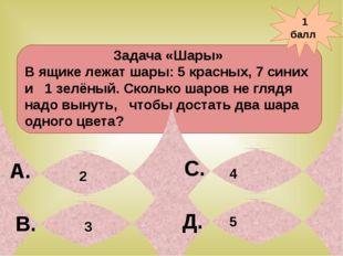 1 балл А. В. С. Д. 3 Задача «Шары» В ящике лежат шары: 5 красных, 7 синих и