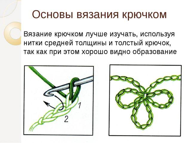 Основы вязания крючком Вязание крючком лучше изучать, используя нитки средней...