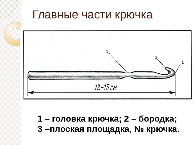 Главные части крючка 1 – головка крючка; 2 – бородка; 3 –плоская площадка, №...