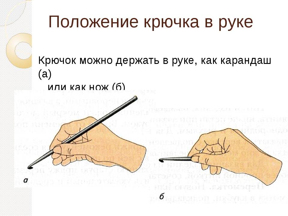 Положение крючка в руке Крючок можно держать в руке, как карандаш (а) или как...