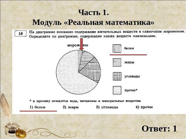 Часть 1. Модуль «Реальная математика» Ответ: 1