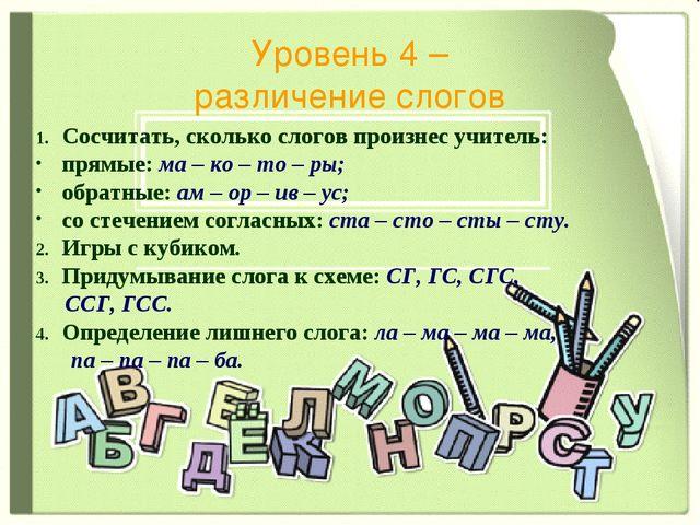 Уровень 4 – различение слогов Сосчитать, сколько слогов произнес учитель: пря...
