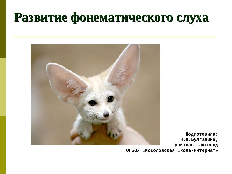 Развитие фонематического слуха Подготовила: Н.Н.Булганина, учитель- логопед О...