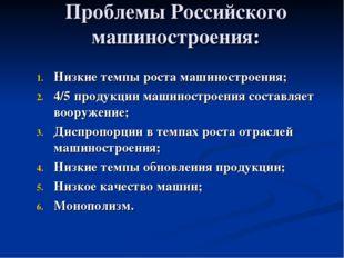 Проблемы Российского машиностроения: Низкие темпы роста машиностроения; 4/5 п