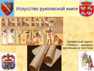 Папирусный свиток Папирус – материал для письма из тростника Искусство рукоп