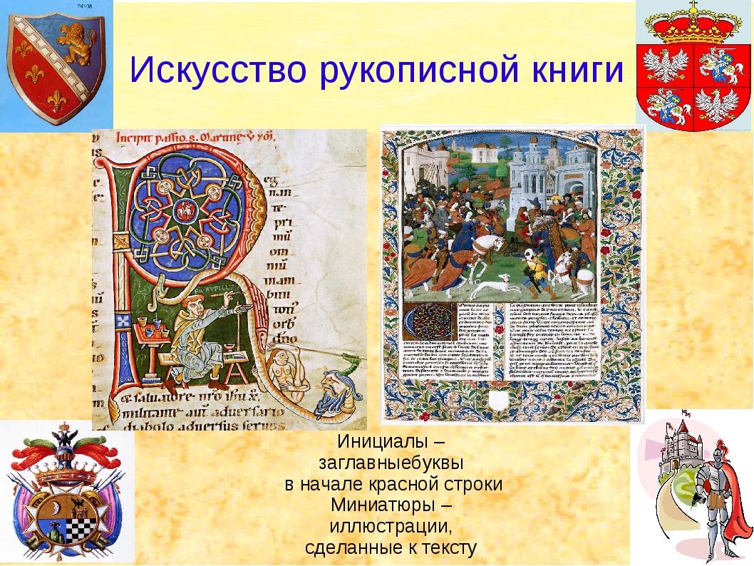 Искусство рукописной книги Инициалы –заглавныебуквы в начале красной строки...
