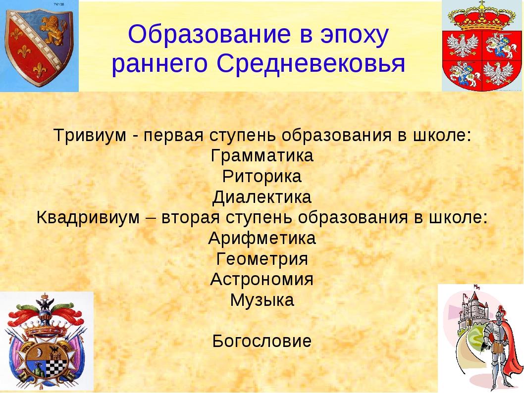 Тривиум - первая ступень образования в школе: Грамматика Риторика Диалектика...