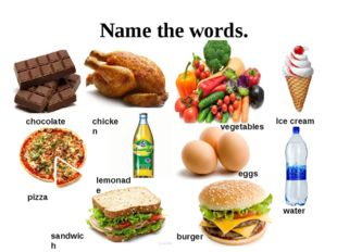 Name the words. chocolate chicken water Ice cream lemonade eggs pizza sandwi