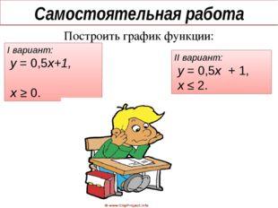 Самостоятельная работа Построить график функции: I вариант: у = 0,5х+1, х ≥ 0
