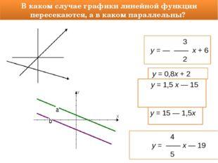 В каком случае графики линейной функции пересекаются, а в каком параллельны?