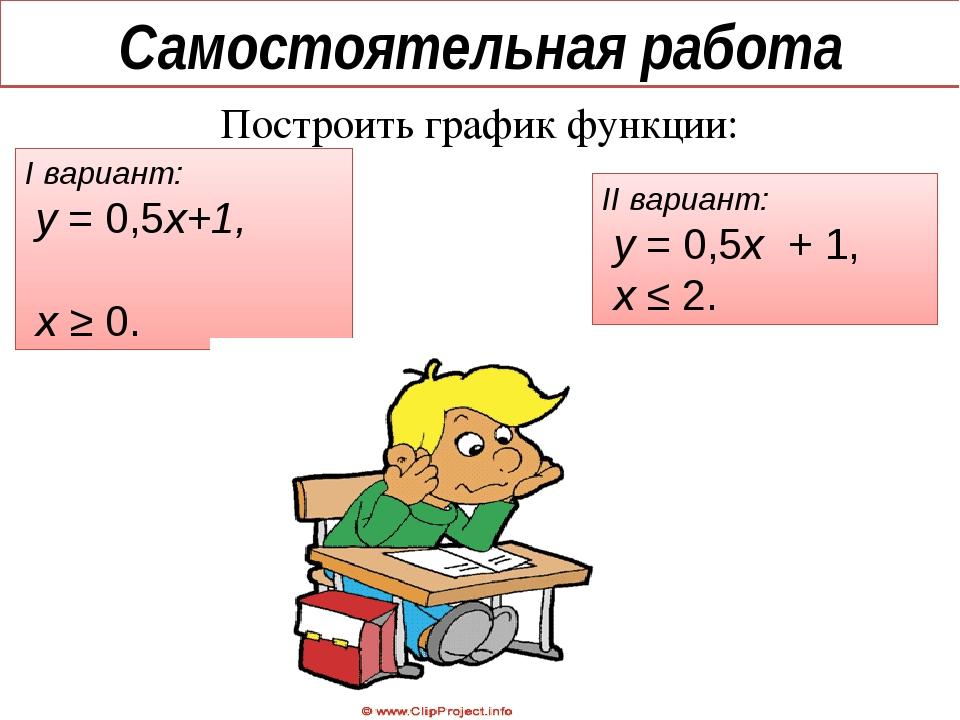 Самостоятельная работа Построить график функции: I вариант: у = 0,5х+1, х ≥ 0...
