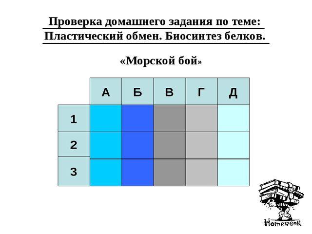 А Б В Г Д 1 2 3 Проверка домашнего задания по теме: Пластический обмен. Биоси...