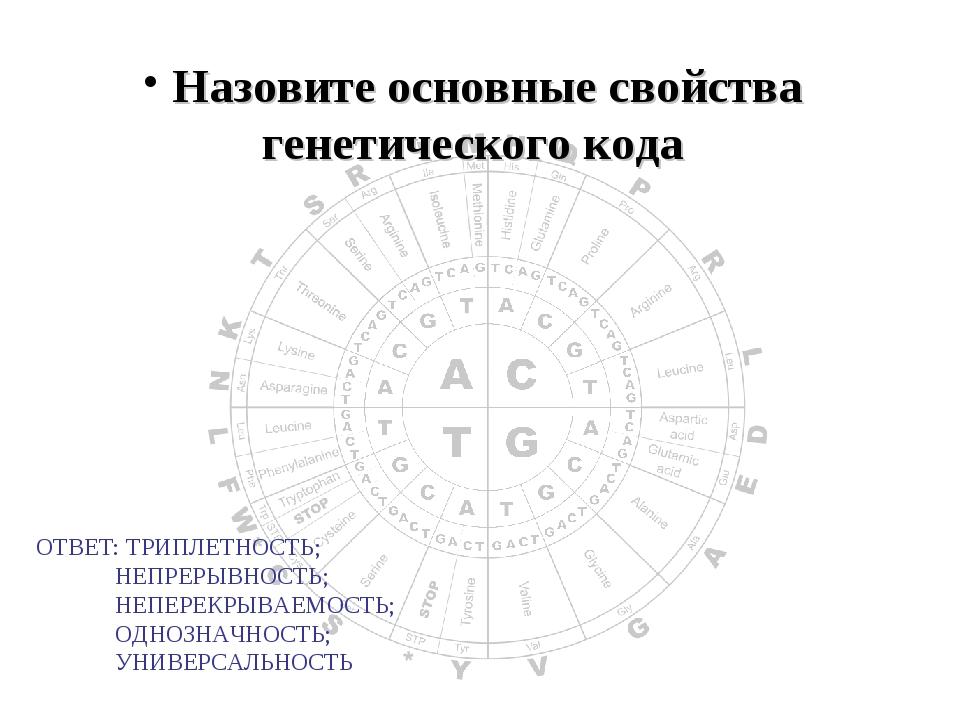 Назовите основные свойства генетического кода ОТВЕТ: ТРИПЛЕТНОСТЬ; НЕПРЕРЫВ...