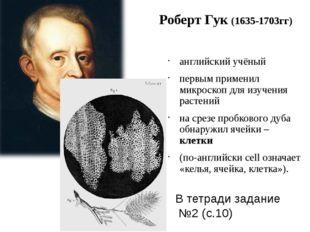 Роберт Гук (1635-1703гг) английский учёный первым применил микроскоп для изуч
