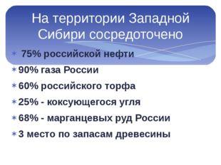 75% российской нефти 90% газа России 60% российского торфа 25% - коксующегос