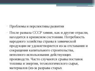 Проблемы и перспективы развития После развала СССР химия, как и другие отрас