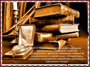 М. В. Ломоносов находил в русском языке «великолепие испанского, живость фран