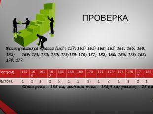 ПРОВЕРКА Рост учащихся класса (см) : 157; 165; 165; 168; 165; 161; 165; 160;