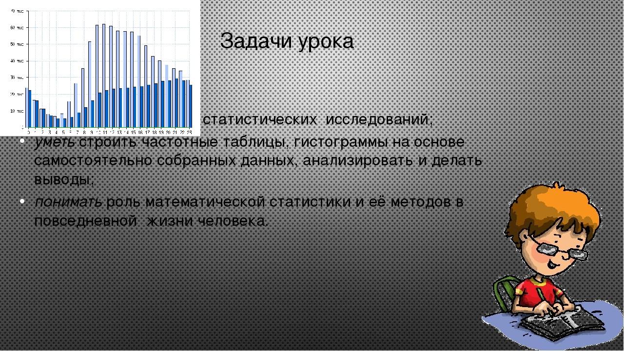 Задачи урока Знать основные этапы статистических исследований; уметь строить...