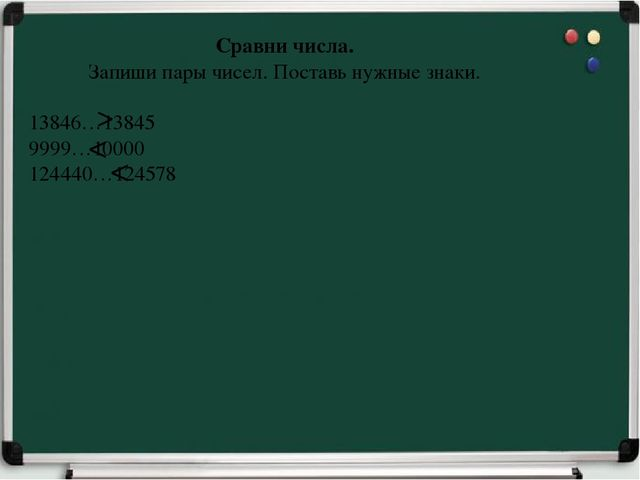 Сравни числа. Запиши пары чисел. Поставь нужные знаки. 13846…13845 9999…10000...