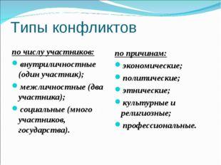 Типы конфликтов по числу участников: внутриличностные (один участник); межлич