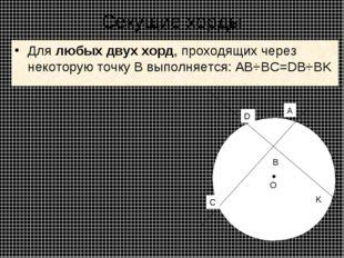 Секущие хорды Длялюбых двух хорд, проходящих через некоторую точку B выполня
