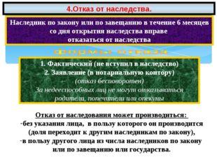 4.Отказ от наследства. Наследник по закону или по завещанию в течение 6 месяц