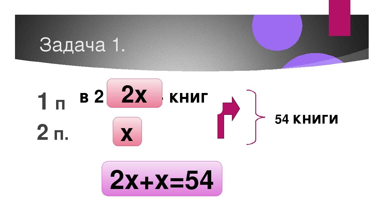 Задача 1. 1 п. 2 п. 54 книги x в 2 раза > книг 2x 2x+x=54