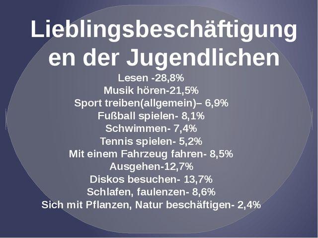 Lesen -28,8% Musik hören-21,5% Sport treiben(allgemein)– 6,9% Fußball spiele...