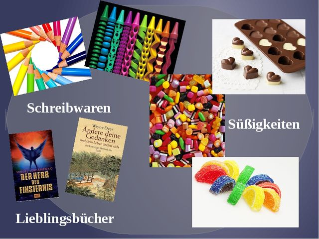 Schreibwaren Lieblingsbücher Süßigkeiten