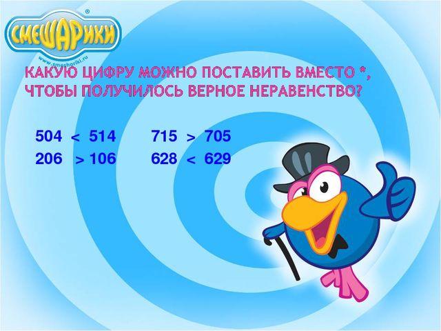 504 < 514 715 > 705 206 > 106 628 < 629