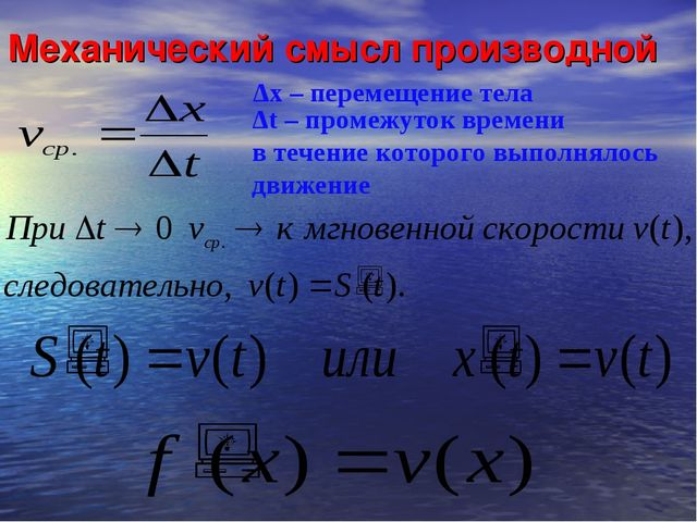 Механический смысл производной Δх – перемещение тела Δt – промежуток времени...