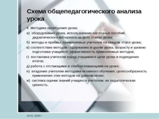 Схема общепедагогического анализа урока 4. Методика проведения урока: а) обор