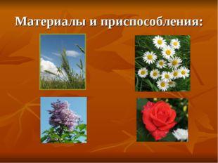 Материалы и приспособления: