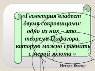 «Геометрия владеет двумя сокровищами: одно из них – это теорема Пифагора, кот
