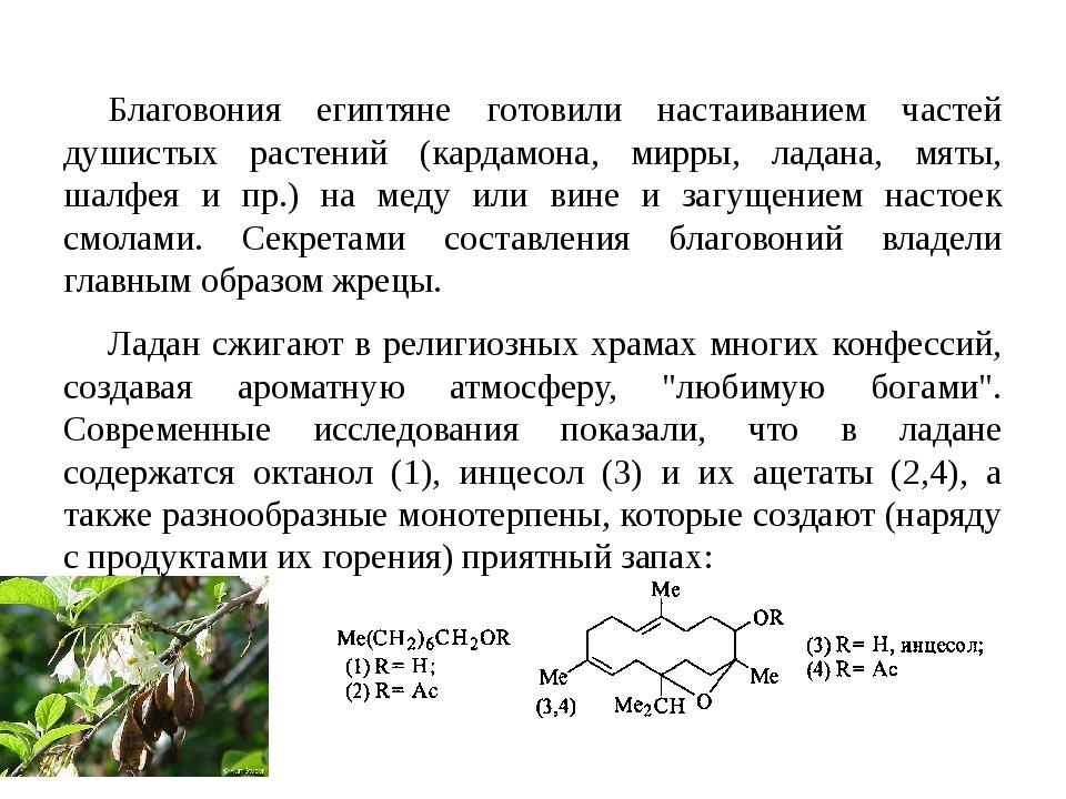 Благовония египтяне готовили настаиванием частей душистых растений (кардамона...