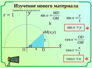 Изучение нового материала x Единичная полуокружность r = 1 y O h x y M(x;y) D