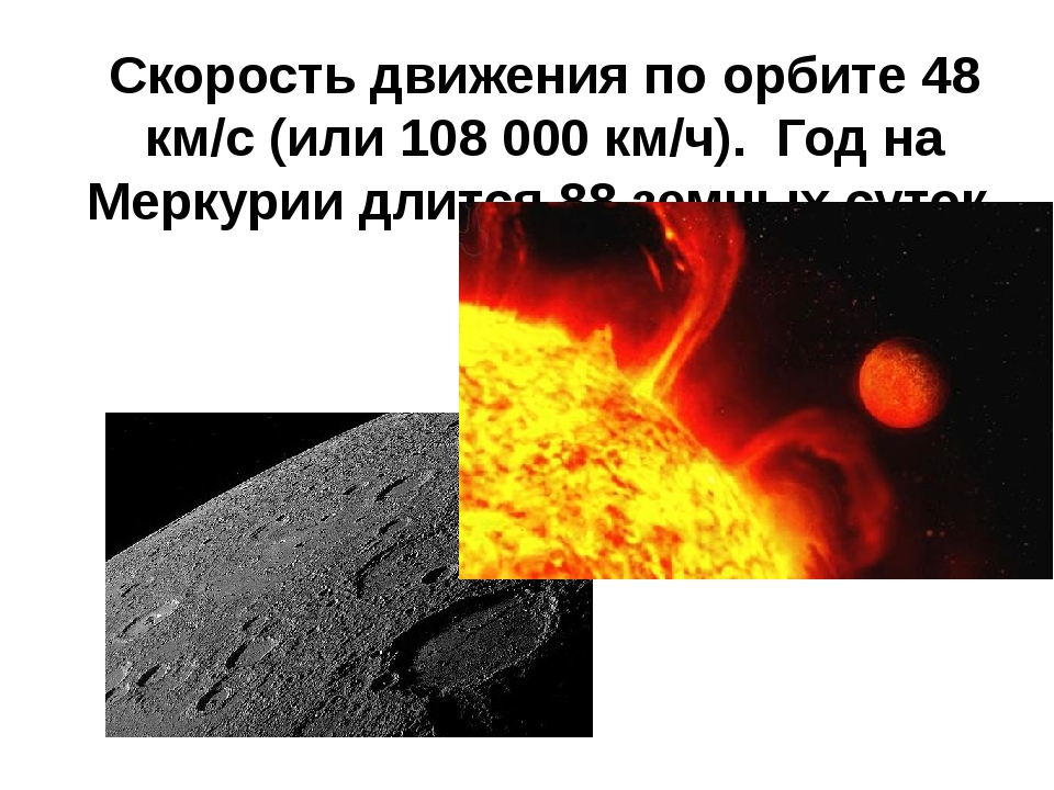 Скорость движения по орбите 48 км/с (или 108000 км/ч). Год на Меркурии длитс...