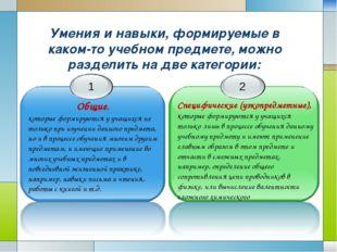Умения и навыки, формируемые в каком-то учебном предмете, можно разделить на