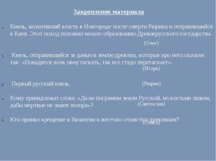 Закрепление материала Князь, захвативший власть в Новгороде после смерти Рюри