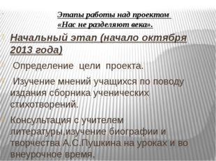 Начальный этап (начало октября 2013 года) Определение цели проекта. Изучени