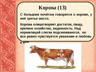 Корова (13) С большим почётом говорится о корове, у неё третье место. Корова