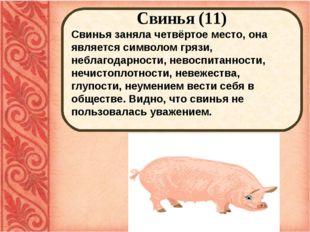 Свинья (11) Свинья заняла четвёртое место, она является символом грязи, небл