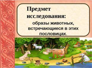 Предмет исследования: образы животных, встречающиеся в этих пословицах.