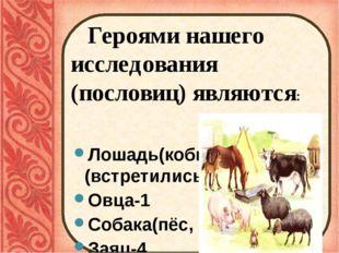 Героями нашего исследования (пословиц) являются: Лошадь(кобыла, конь)- (встр