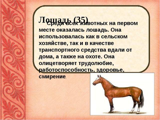 Лошадь (35) Среди всех животных на первом месте оказалась лошадь. Она исполь...